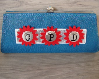 Chicago Police Department Vintage UPcycled Blue Metallic Clutch Purse with Strap