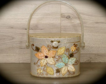 Vintage Lucite Purse Oval Box Purse with Flowers