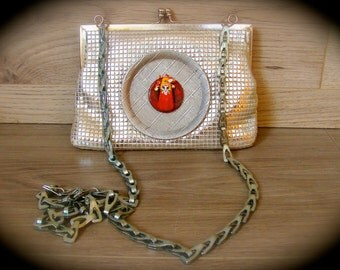 Vintage Purse with Asian Masked Character Silver Lame