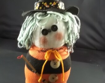 Halloween - Sock Witch-Orange/Black Stripe Green/Grey Hair