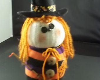 Halloween - Sock Witch-Orange/Black/Purple Stripe-Straight Hair