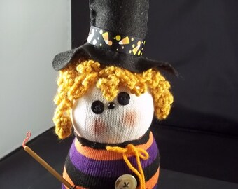 Halloween - Sock Witch-Orange/Black Stripe Curly Hair