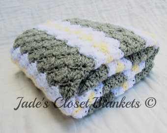 Crochet Baby Blanket, Baby Blanket, Crochet Grey Baby Blanket, Light Grey with White and Yellow accents, crib size