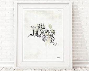 Black and White Prints, Love Typographic Print, Black and White Art, Typographic Poster, Love Art, Inspirational Quote