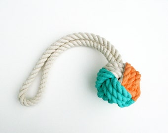Peach & Aqua Hand-Painted Monkey's Fist Knot - Medium