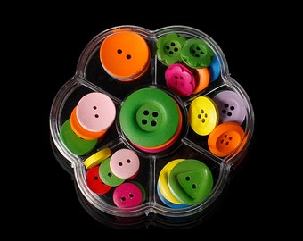 Wood Sewing Buttons in Plastic Container