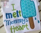 Mother's Day Shirt or bodysuit for boys -- I Melt Mommy's Heart -- bodysuit or shirt -- aqua and green popsicle theme