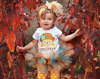 Scarecrow Outfit -- Baby Girl Halloween Outfit -- Autumn Friend -- bodysuit, tutu, leg warmers and bow with headband in gold, tan, orange