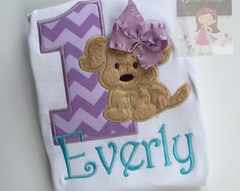 Puppy Birthday Shirt, bodysuit or Dress Any Age -- Puppy PAWty -- bodysuit or shirt in purple and aqua puppy theme for any age
