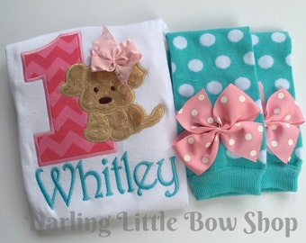 Baby Girl First Birthday outfit with Bodysuit and leg warmers -- Puppy PAWty -- pink, aqua and tan puppy theme