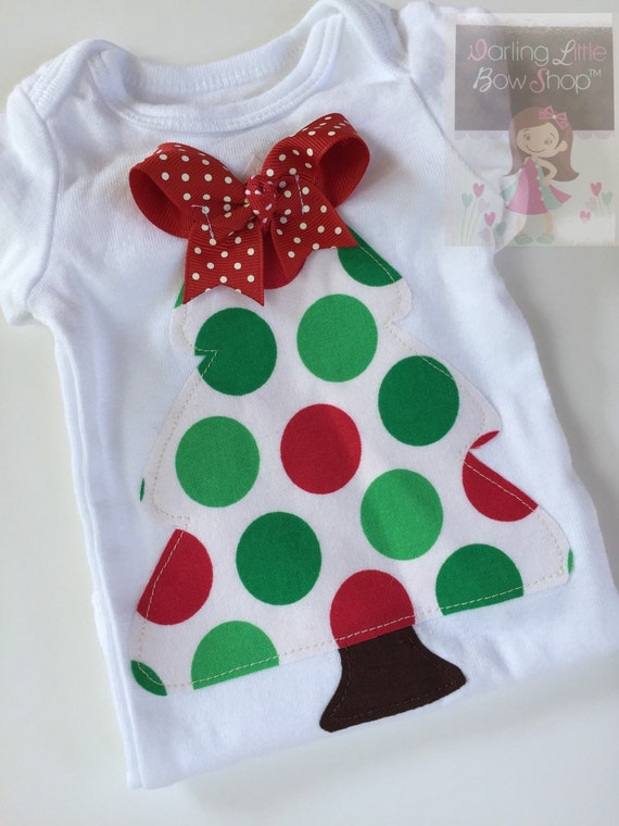Christmas Tree Bodysuit or Shirt for Baby Girl or Big Girl - hand cut applique Christmas tree with a beautiful bow