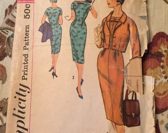 Simplicity 1950s Ladies Dress and Jacket Pattern--Size 14--Bust 34