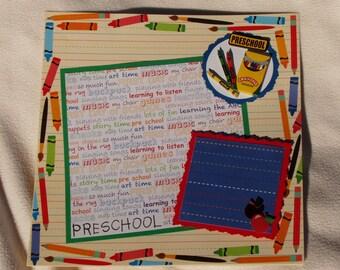 Preschool First Day of School Bus Books Apple Teacher Girl Boy 12x12 Premade Scrapbook Page by KARI