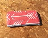 LABOR DAY SALE !! Pencil Case//Pencil Pouch//Cosmetic Pouch//Cosmetic Bag//Zipper Pouch - Coral Arrows