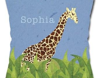Personalized Giraffe Safari Throw Pillow