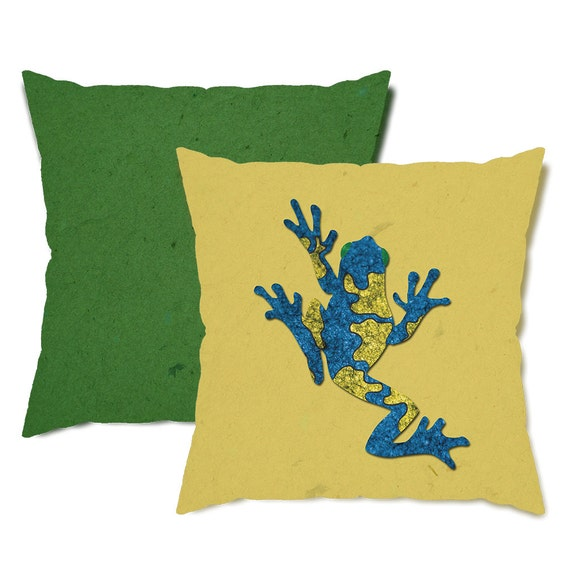 Yellow and Green Tree Frog Throw Pillow