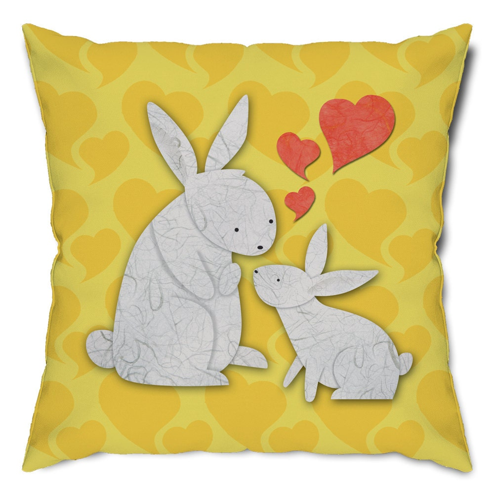 Bunny Rabbit Love Throw Pillow
