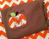 Fall pumpkin Personalized/ monogrammed School/teacher fall pumpkin tshirt