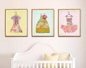 Nursery Kid Room Wall Art, Pretty Dress, Pink Yellow Aqua Room, Art above Crib, Fashion Little Girl, Print, Wall Decor, Set of 3, LilyCole,