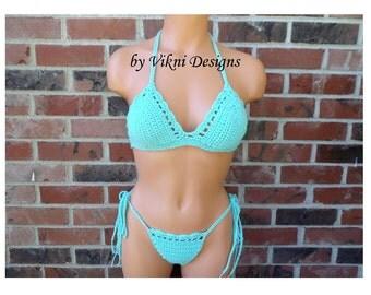 Breakfast in bed bikini, Exotic Crochet THONG CHEEK Bikini by Vikni Designs