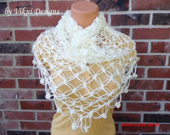 Crochet Shawls, Crochet Scarf, Beach Cover Up, Light Weight Sarong by Vikni Designs