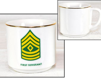 coffee mug, vintage military, army, first sergeant, Phil Jost, Germany,12oz, cups, ceramic, heavy, hand painted, gold trim, army memorabilia