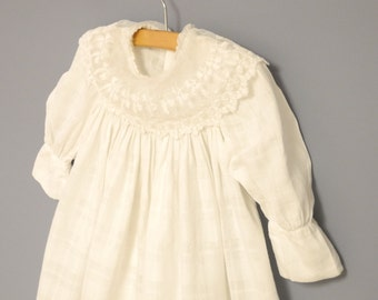 Vintage Baby Clothes, 1880's Handmade Victorian White Cotton Lace Baby Girl Dress, White Baby Dress, Vintage Baby Dress, Size 2T - 3T
