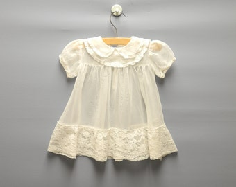 Vintage Baby Clothes, 1950's White Chiffon and Lace Baby Girl Dress, White Chiffon Baby Dress, Vintage Baby Dress, Size 6 Months