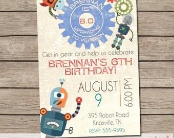 Robot Birthday Invitation - Robot Party - Boy Birthday Party - Printable Invitation