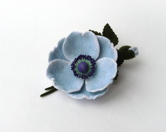 Felted brooch pin light blue flower Anemone with bud and green leaves, ready to ship