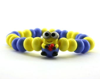 Minion Despicable me  Lampwork  glass bracelet /  figurine/ sculpture/ miniature glass / set of 26 spacer lampwork beads and one minion bead