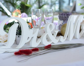 Wedding sign set Dr and Mrs or Dr&Mr or Dr and Dr. Sweetheart table decor wooden signs.