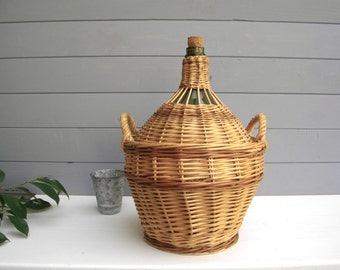 19th Century French Antique Demijohn, French Hand-blown Glass - antique demijohn -  french Wicker Bottle  - wine