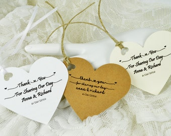 Heart Tags with your Message, Wedding Favor Tags, Valentine's Party Tags
