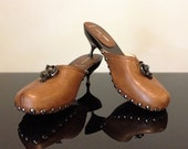 RESERVED Mui Mui Brown Leather Fur Metal Studded Mules Clogs Floral Flower Jewel - Italy