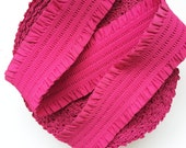 "2 6/8"" Fuchsia Pink with Frills Stretch Elastic Band"