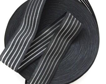 "2"" Black and Transparent Stripes Elastic Band"