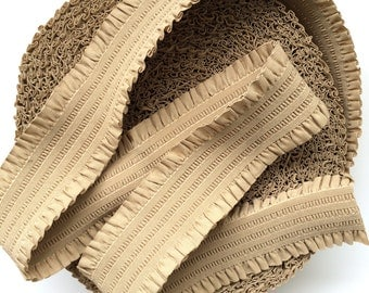 """3"""" Beige Stretch Elastic Band with Frills"""