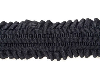 "2"" Black Stretch Elastic Band with Frills"