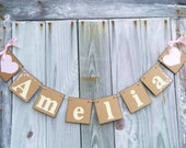 Pink Baby shower Decorations -Childrens NAME Banner , Birthday Banner, Personalized Child's Name Banner, Nursery Decor,  You Pick the Colors