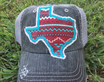 State of Texas Aztec Baseball Bling Ladies Womens Trucker Hat