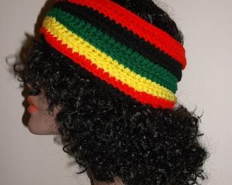 Crochet Ribbed Headband in Rasta Colors, Winter Headband,