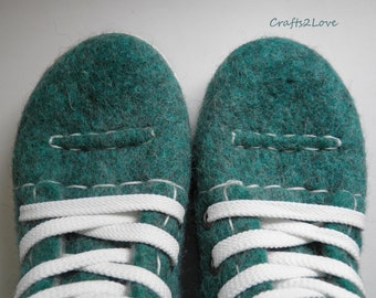 Felted wool sneakers in green, Outdoor wet felted shoes with rubber soles, Eco fashion shoes for women, woman, Woolen shoes, RTS  US 8