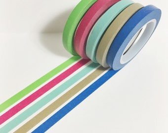 Washi Tape Set of 5 Skinny Solid Color Washi Tape 11 yards 10 meters 5mm Each Blue Taupe Mint Fucshia Green