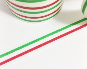 SALE Christmas Washi Tape Skinny Red and Green Stripe Skinny Washi Tape 11 yards 10 meters 10mm
