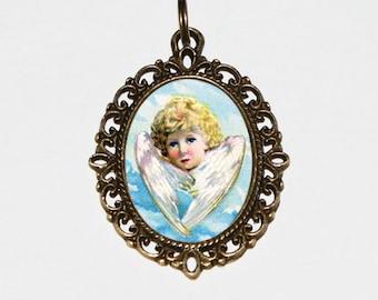 Angel Child Necklace, Angel Jewelry, Heaven, Guardian Angel, Angel Wings, Angel Necklace, Oval Pendant