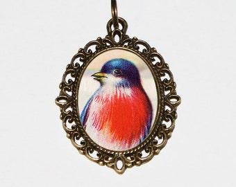 Blue Bird Necklace, Birds, Bird Jewelry, Oval Pendant