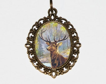 Buck Necklace, Woodland, Deer Jewelry, Oval Pendant