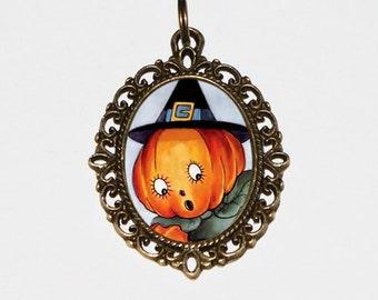 Pumpkin Witch Necklace, Halloween Jewelry, Pumpkin Necklace, Oval Pendant