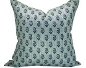 Peter Dunham Textiles Rajmata Tonal pillow cover in Blue/Blue